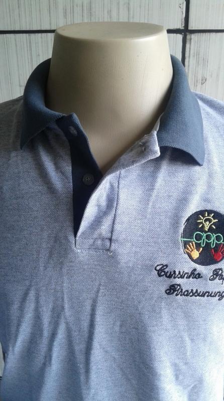 Onde Encontro Camisetas Bordadas Logo Empresa Cachoeirinha - Camiseta Bordada Educação